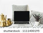 stylish front view home office... | Shutterstock . vector #1111400195