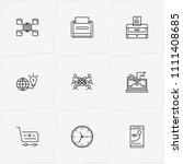 internet line icon set with... | Shutterstock .eps vector #1111408685