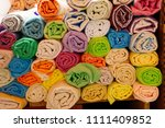 colorful turkish bath towels... | Shutterstock . vector #1111409852