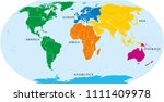 six continents world  political ... | Shutterstock .eps vector #1111409978