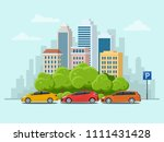 vector concept cars parked in... | Shutterstock .eps vector #1111431428