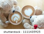 top viwe of two teddy bears and ... | Shutterstock . vector #1111435925