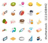 sweet food icons set. isometric ... | Shutterstock . vector #1111438442