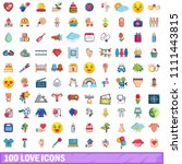 100 love icons set. cartoon... | Shutterstock . vector #1111443815