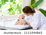 little child taking bubble bath ... | Shutterstock . vector #1111444865