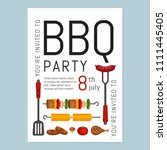 bbq party invitation with grill ... | Shutterstock .eps vector #1111445405