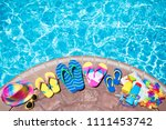swimming pool accessories flat... | Shutterstock . vector #1111453742