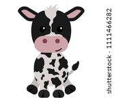 black and white calf   cartoon... | Shutterstock .eps vector #1111466282