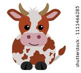 orange and white cow   cartoon... | Shutterstock .eps vector #1111466285