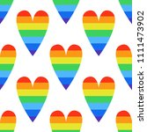 rainbow heart seamless pattern | Shutterstock .eps vector #1111473902