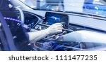 man hand touching to multimedia ... | Shutterstock . vector #1111477235
