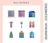 building icons in futuristic... | Shutterstock .eps vector #1111482362