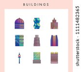 building icons in futuristic... | Shutterstock .eps vector #1111482365