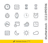time related vector line icons... | Shutterstock .eps vector #1111490546