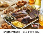 texas style bbq tray with... | Shutterstock . vector #1111496402