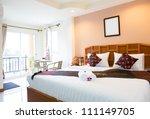 Stock photo interior of modern comfortable hotel room 111149705