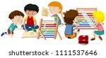a group of children learning...   Shutterstock .eps vector #1111537646