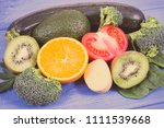vintage photo  fresh fruits and ... | Shutterstock . vector #1111539668