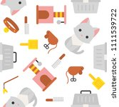 cat and toy  seamless pattern... | Shutterstock .eps vector #1111539722