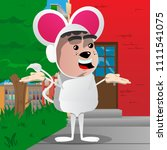 boy dressed as mouse shrugs... | Shutterstock .eps vector #1111541075