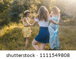 group of girls friends making... | Shutterstock . vector #1111549808