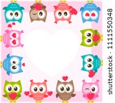 frame with cute owls and red...   Shutterstock . vector #1111550348