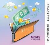 money online mobile phone vector | Shutterstock .eps vector #1111564418