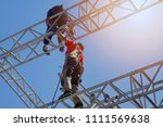 group of workers in safety... | Shutterstock . vector #1111569638