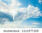 wood cross on blue sky....   Shutterstock . vector #1111577105