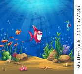 undersea world with fish.... | Shutterstock .eps vector #1111577135