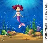 undersea world with brunette... | Shutterstock .eps vector #1111577138