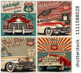 set of vintage car metal signs... | Shutterstock . vector #1111588028