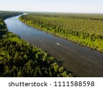 Boat Sails Along The River. Ob...