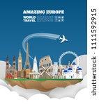 europe famous landmark paper... | Shutterstock .eps vector #1111592915