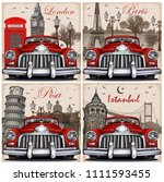 set of vintage car travel... | Shutterstock . vector #1111593455