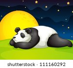 illustration of a panda resting ... | Shutterstock .eps vector #111160292