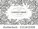 coffee tree banner template.... | Shutterstock .eps vector #1111612328