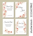 set of cards with flowers ... | Shutterstock .eps vector #1111615862