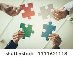 multi ethnic group of business... | Shutterstock . vector #1111621118