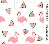 flamingo set. seamless pattern... | Shutterstock .eps vector #1111622462