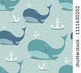 whales  sea anchors  hand drawn ... | Shutterstock .eps vector #1111630202
