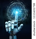 white robot hand on blurred... | Shutterstock . vector #1111631738
