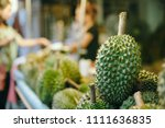 durian  king of fruit in... | Shutterstock . vector #1111636835