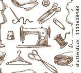 sewing needlework vector sketch ... | Shutterstock .eps vector #1111638488