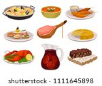 flat vector set of traditional... | Shutterstock .eps vector #1111645898