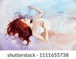 redhead girl in light airy...   Shutterstock . vector #1111655738