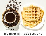 waffles and coffee for... | Shutterstock . vector #1111657346