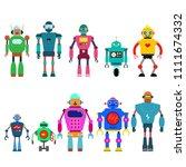 set of different cartoon robots ...   Shutterstock .eps vector #1111674332