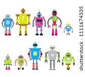 set of different cartoon robots ... | Shutterstock .eps vector #1111674335
