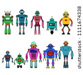 set of different cartoon robots ...   Shutterstock .eps vector #1111674338